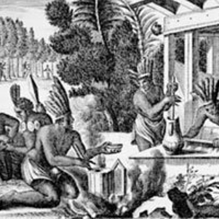 "Aztecs preparing ""Xocolatl"": cacao was roasted, ground and together with water spices, beat until foamy (Olfert Dapper, ""Die unbekannte Neue Welt"")."