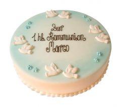 Kommunion Torte Taube blau