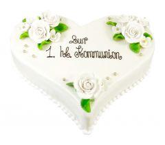 Kommunion Torte Herz weiss