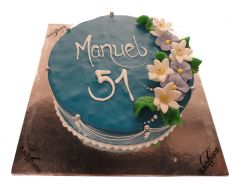 Cake Blue with flowers